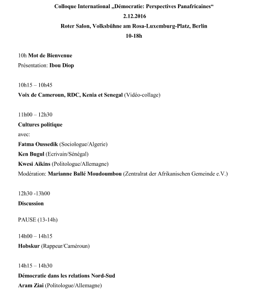 programme-symposium Perspectives panafricaines
